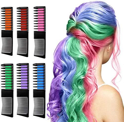 Peigne Magic Hair Chalk Peigne, Couleur des cheveux temporaire Dye for les filles Party Carnaval et cosplay, cadeau for Jeunes filles 6pcs