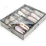 Nifogo Aufbewahrungsboxen für Schuhe, Aufbewahrungstasche Schuhaufbewahrung stasche, Unterbett Schuhe Tasche, Unterbettkommode für Schuhe, Schrank Organizer(Grau)