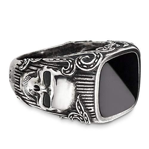 caï men Herren-Ring ROCKABILLY 925 Silber Onyx schwarz Gr. 64 (20.4) - C4166R/90/13/64