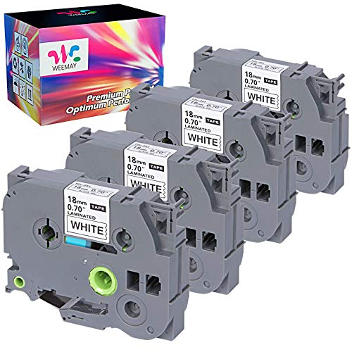 Weemay Compatible Label Tape Replacement for 18mm 0.7 Laminated White TZe-241 TZe241 TZ241 TZ-241 18mm TZ Tape 3/4 Inch Black on White for PTouch PT-D400 PT-D400AD PT-D600 PT-1750 Label Maker, 4P