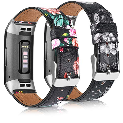 AK Leather Band Compatible with Fitbit Charge 4 Bands & Fitbit Charge 3 Bands, Adjustable Top Grain Leather Wristband for Charge 4 / Charge 3 / Charge 3 SE Smart Watch (Floral Gray/Floral Red)
