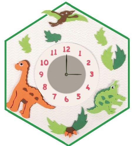 alles-meine.de GmbH Bastelset 3-D Uhr / elektrische Wanduhr - Dinosaurier Junge Dino Tiere - Kinderzimmer Kinderuhr Uhren Komplett Set