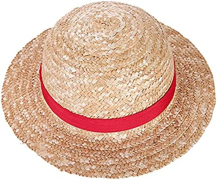 Breakthecocoon Boys and Girls One Piece Hat Straw Hats | Cartoon Props Hats Kids Red Striped Beach Hats (Color : YF00102, Size : 31cm Diameter)