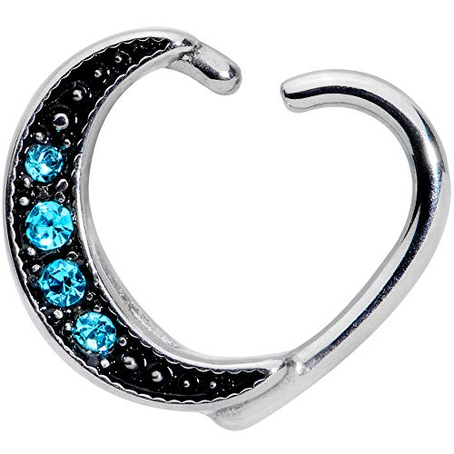 """Body Candy 3/8"""" 16G Steel Blue Accent Crescent Moon Right Heart Closure Ring Daith Helix Tragus Rook 10mm"""