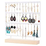 QILICHZ Earring Stand Holder 3-Tier Earring Tree Stand Display Stand Ear Stud Holder Jewelry Sttand Holder Tower with Wooden Tray/Dish for Earrings Necklace Bracelet Rings 69 Holes