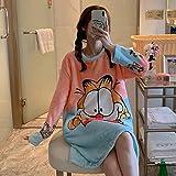 SMYFM Albornoz Camisón de Franela para Mujer de Invierno, Dibujos Animados Gruesos, Estampado de Gato Lindo, Manga Larga, Camisones, camisón Suelto y cálido, Garfield, L