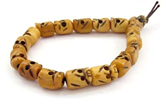OVALBUY Ox Bone Carved Skull Beads Tibet Buddhist Prayer Bracelet Mala