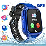 Reloj Inteligente Teléfono para niños Impermeable, GPS+LBS Rastreador Podómetro cámara SOS Pantalla táctil HD Conversación Bidireccional Reloj Inteligente para niños, Regalo para niños, Azul