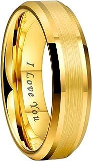 iTungsten 6mm 8mm Silver Black Gunmetal 18K Gold Tungsten Rings for Men Women Wedding Bands Beveled Edges I Love You Engra...