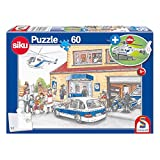 Schmidt Spiele policía, Puzzle Infantil, 60 Piezas, con helicóptero Siku, Color carbón (56351)