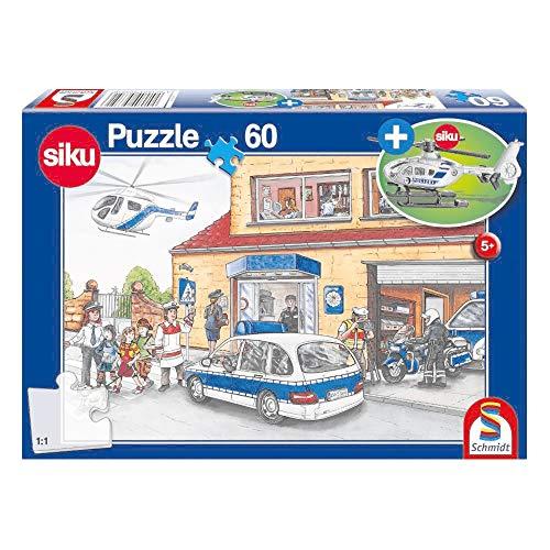 policía, Puzzle Infantil, 60 Piezas, con helicóptero Siku, Color carbón (56351)