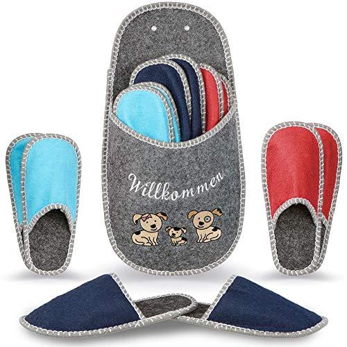 YOMU Gästehausschuhe 6er Set ABS Antirutsch hochwertige Hausschuhe Pantoffeln aus Filz mit Aufbewahrungstasche, 36/47 EU, Mehrfarbig