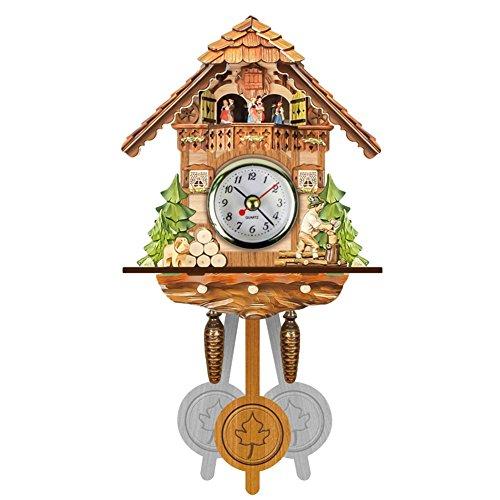 Gelentea 2020 - Reloj de Pared Creativo de Madera con Forma de Cuco de pájaro, Campana, Reloj Despertador para el hogar, Sala de Estar, Cocina, Oficina, decoración