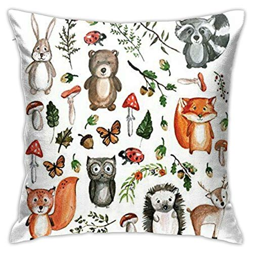 87569dwdsdwd Hand Drawn Forest Animals Square Pillow Case Home Sofa Decorative 18' X 18'Inch Ultra Soft Comfortable