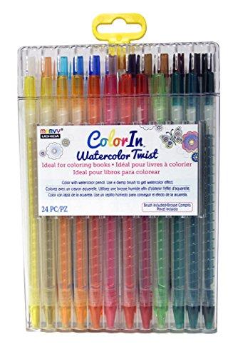 UCHIDA 24 Piece Watercolor Twist Pencil Set Art Supplies, Multi