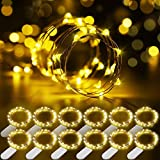 12 Packs Cadena de Luces, Govee 1m/3.3ft 20 LEDs Guirnaldas Luces con Pilas, IP67 Impermeable Luces Decorativas Flexible de Alambre de Cobre para Navidad, Fiesta - Blanco Cálido