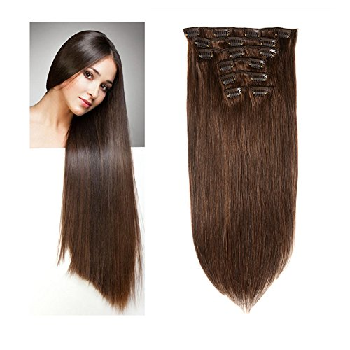Lovbite 18 Inch Clip in Hair Extensions Double Weft Straight Human Hair Extensions Clip in Dark Brown Brazilian Virgin Real Hair Clips on Extension 8A Grade 7Pieces/Lot 100g 16Clips