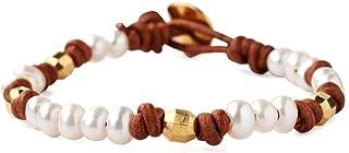 Chan Luu Women's Pearl and Leather Single Wrap Bracelet