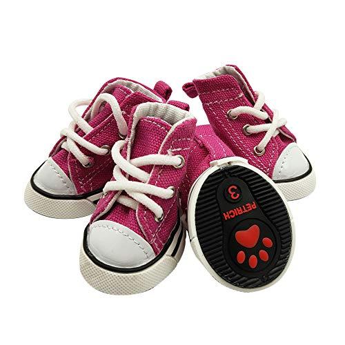 YAODHAOD Puppy Canvas Sportschuhe, Sneaker-Stiefel, rutschfeste Outdoor-Freizeitschuhe, Gummisohle + Innenmaterial aus weicher Baumwolle für kleine bis kleine Hunde Teetasse Chihuahua Yorkie(1, Pink)