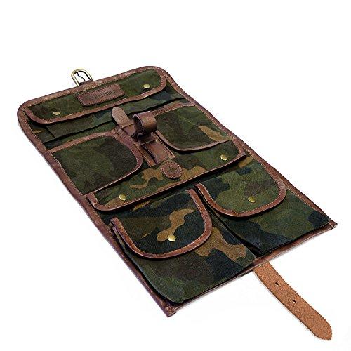 DRAKENSBERG Wash Bag – Beauty case da appendere in stile afari vintage per uomo e donna, realizzato a mano in tela e pelle
