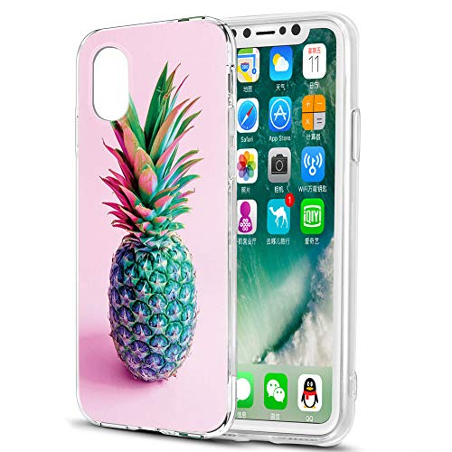 Pnakqil Funda Apple iPhone 11 Pro MAX, Silicona Transparente con Dibujos Diseño Slim Antigolpes Ultrafina de Protector Case Cover Cárcasa Fundas para Movil Apple iPhone11 ProMax, Rosa Verde Piña