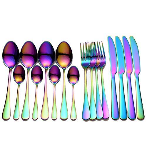 Bswefty Juego de 16 cubiertos de acero inoxidable con cuchara dorada, tenedores, cuchillos, cucharas, vajilla de cocina, juego de 4 juegos