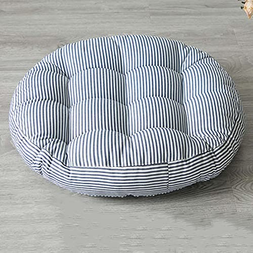 Wicker Seat Cushion Round Not Waterproof Stripe Patio Furniture Cushions Indoor Outdoor, 55cm Soft Comfortable Cotton and Linen Chair Seat Cushions, 11 cm Thickness Blue-Set of 2