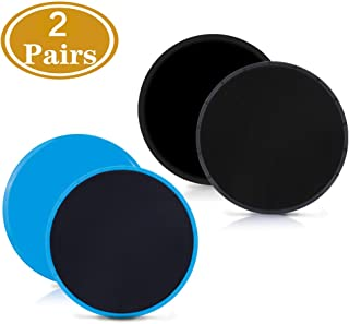 Gliding Discs Core Sliders Exercise Sliders 4 Pack Dual Sided Gliding Slider for Carpet or Hard Floors Core Fitness Ultimate Core Training Gym and Full Body Workout's at Home or Travel Black & Blue