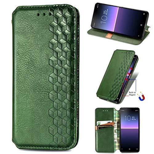 Funda para Samsung Galaxy S20 Ultra, a prueba de golpes, de piel sintética, con soporte para tarjeta y soporte magnético oculto, con función atril, color verde, tamaño Samsung Galaxy S20 Ultra