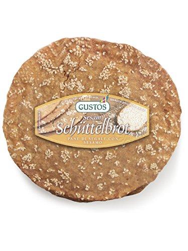 6 confezioni di Pane tradizionale dell Alto Adige  Schüttelbrot  di segale con semi di sesamo, 150 g ciascuna, fatto a mano, gustoso e croccantissimo.