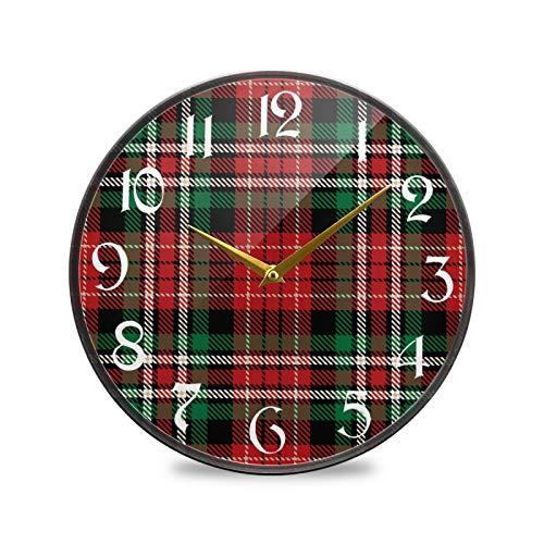 ART VVIES Reloj de Pared Redondo de 9,5 Pulgadas, sin tictac, silencioso, Funciona con Pilas, Oficina, Cocina, Dormitorio, decoración del hogar, Cuadros Rojos y Verdes