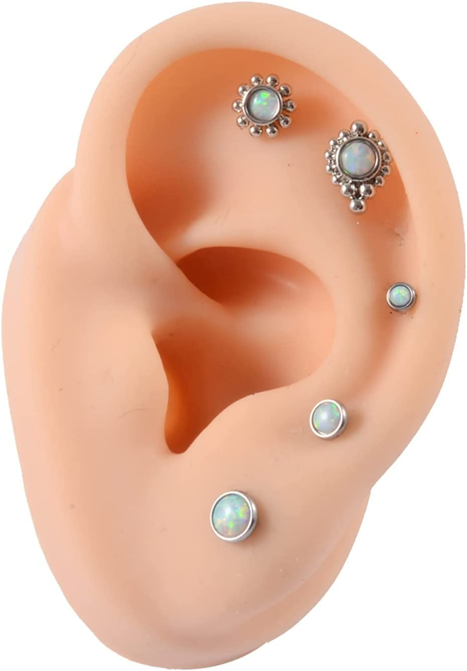 ZYQXB 1 Set of 16G Nose Ring Cluster Ear Tragus Earrings (Metal Color : Pure Gold Color)