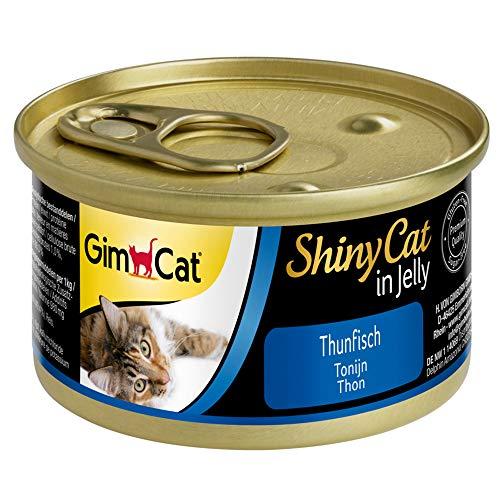 GimCat ShinyCat in Jelly, atún - Alimento húmedo para gatos, con pescado y taurina - 24 latas (24 x 70 g)