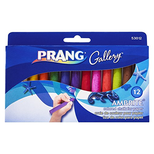 Prang Gallery Ambrite Paper Chalk, Colored Chalk for Use on Wet or Dry Paper, Tapered, Assorted Colors, 12-Pack (53012)