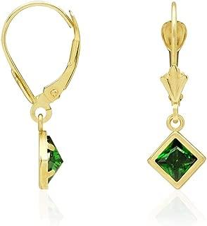 14k Yellow Gold Bezel Princess Cut Birthstone Dangle Drop Leverback Earrings