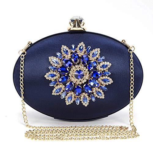 BAIGIO Bolso de Noche Azul Marino, Clutch Mujer Fiesta Vintage Cartera de Mano Bolsos de Embrague Cadena para Boda Novia Ceremonia, Satén y Diamante