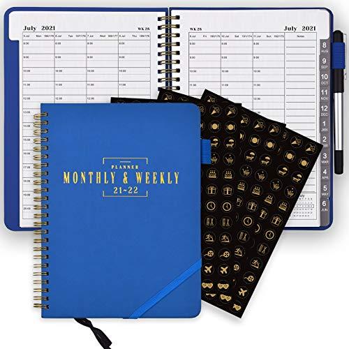 Agenda SynLiZy luglio 2021-giugno 2022 settimanale e mensile 365 giorni accademici giornalieri con tre fogli di adesivi,12 linguette mensili,chiusura elastica,tasca interna, 6,3'x 8,7'