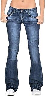 Yying Pantalones de Mezclilla para Mujer Slim Fit Pantalones Acampanados Sexy Jeans Cintura Alta Pantalones de Corte de Co...