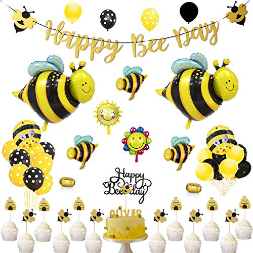 SILBLASSYU Bee Party Decorations Set - Bee Party Supplies with Happy Bee Day Gold Glitter Banner&Happy Bee Day Cake Topper,Bee Balloons,Glitter Bee Cupcake Toppers,20 Polka Dot Balloons,20 Yellow&Black Balloons for Bee Birthday Party,Bee Baby Show