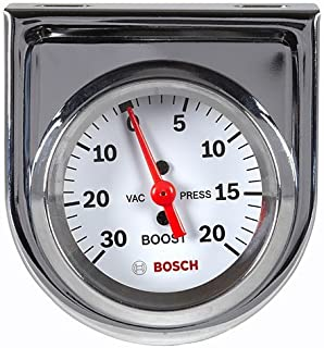 "Bosch SP0F000042 Style Line 2"" Mechanical Vacuum/Boost Gauge (White Dial Face, Chrome Bezel)"