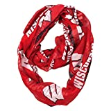 NCAA Wisconsin Badgers Sheer Infinity Scarf, One Size, Red