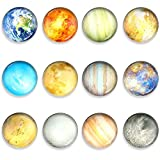 Glass Strong Magnetic Fridge Magnets,Planetary Refrigerator Magnets Fridge Sticker,Round Cute Colorful Office Magnets Decorations for Office Whiteboard,Cabinet,Dishwasher,Locker,Kitchen(12PCS)