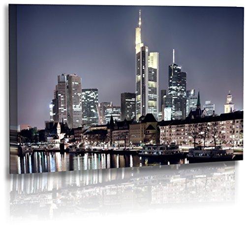 Premium - Acrylglas - Architekturfotografie - Städte - Frankfurt - Bilder - Wolkenkratzer - Skyline - Wandbilder XXL - Bild - Stadt - Architektur - Acrylglasbild - Glasbild (140 cm x 80 cm)