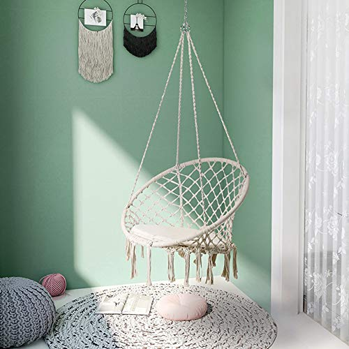 Hanging Chair with Hanging Kits, Comfortable Sturdy Hanging Chairs, Cotton Rope Macrame Swing Chair, Holds up to 120 kg, for Living Room, Bedroom, Terrace, Balcony, Garden