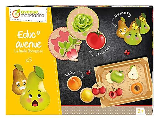 Avenue Educ' avenue mandarine JE515C set met 3 spellen (puzzel, fotollotto, geheugen) in 1, ideaal voor kinderen vanaf 2 jaar, 1 set groenten en fruit. Multicouleurs