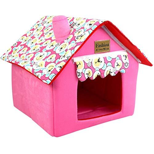 JEELINBORE Casa per Cani Interno Pieghevole Morbida Casetta Letto Cuscino per Cane e Gatti Animali Piccolo (Rosa, 40 * 40 * 49cm)