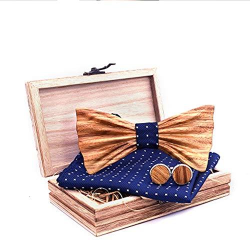 Der vorgebundene Bogen der Männer 3D Zebra Holz Massivholz Fliege Krawatte Kragen Blume Holz Fliege Set Massivholz Qualität Holz Fliege Krawatten für Hochzeitsfeier ( Farbe : 1 , Größe : Free size )