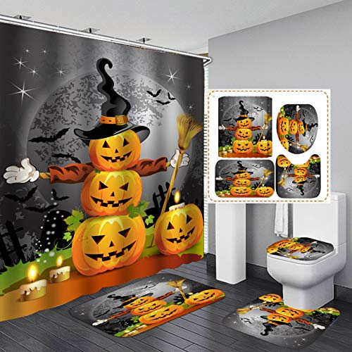 4Pcs Pumpkin Shower Curtain for Bathroom, Halloween Shower Curtain, Halloween Theme Decor Shower Curtain Sets with Rugs and Mats for Home Bathroom Restroom Hotel (71 Inch x 71 Inch)
