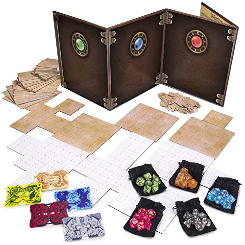 Game Master Essentials: Roleplaying Starter Kit | Customizable GM Screen, 44 Reversible Map Tiles, 5 Character Health Trackers, 5 Polyhedral Dice Sets | Tabletop Fantasy Game Beginner Accessories