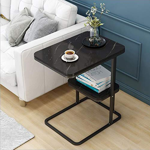 AMYAL Side Table Coffee Table End Tables Coffee Table Metal Frame Side Tables Modern Coffee Table with Storage Shelf Snack Table for Room Balcony, 50 * 30 * 58cm Sofa Snack Table (Color : Black)
